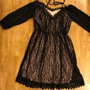 😍 Black Lace Dress With Lace Up Shoulders